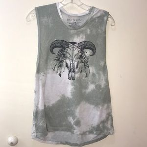 Fifth Sun Tops - Fifth sun graphic tie die skull south western Xl